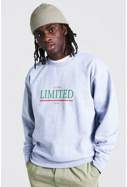 Grey marl Oversized Limited Print Sweatshirt