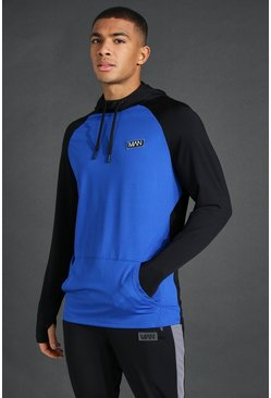 Cobalt Man Active Raglan Colour Block Hoodie