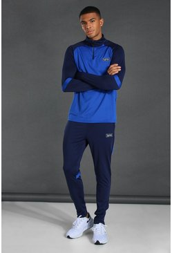Navy Man Active Raglan Colour Block Tracksuit