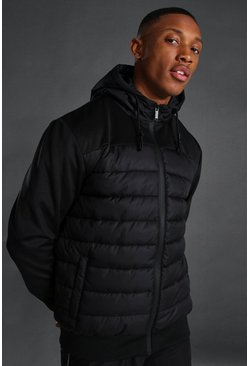 Black Sport Quilted Zip Through Jacket