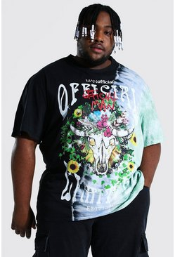 Black Plus Size Loose Fit Official Tie Dye T-shirt