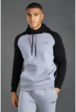 Black Man Active Raglan Colour Block Hoodie