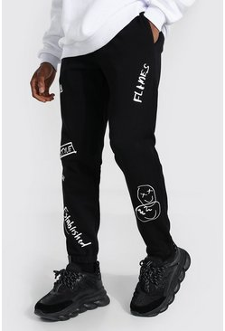 Black Man Slim Graffiti Print Joggers