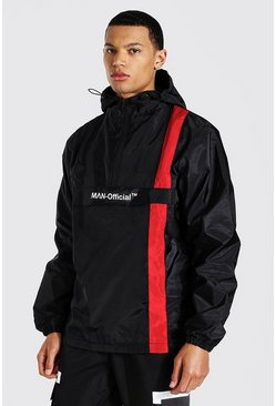 Tall Man Official Stripe Overhead Cagoule, Black
