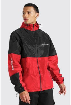 Tall Colour Block Sleeve Detail Cagoule, Black