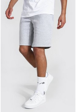 Grey marl Tall Basic Mid Length Jersey Shorts