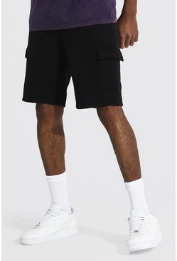 Black Tall Basic Mid Length Slim Cargo Jersey Short