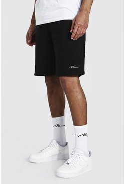 Black Tall Man Signature Mid Length Jersey Short