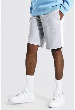 Tall Man Mid Length Side Panel Jersey Short, Grey marl