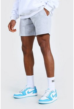 Grey marl Basic Short Length Regular Jersey Shorts