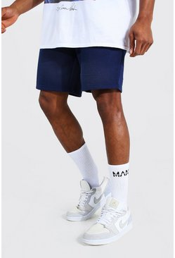Navy Basic Mid Length Regular Jersey Shorts