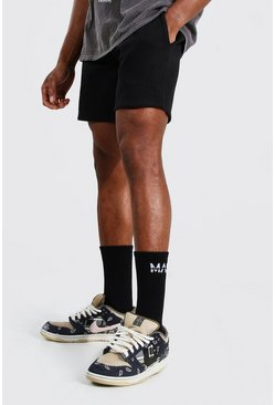 Black Basic Short Length Regular Jersey Shorts