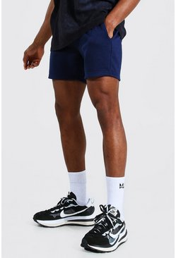Navy Basic Short Length Slim Jersey Shorts