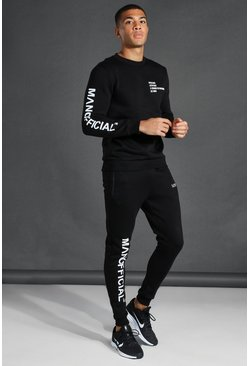 Black Man Active Stamp Print Sweatshirt Tracksuit