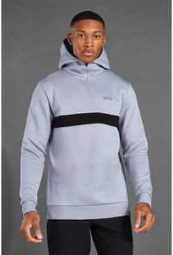 Grey Man Active ¼ Zip Over The Head Hoodie
