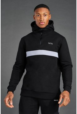 Black Man Active ¼ Zip Over The Head Hoodie