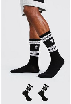 Black 2 Pack Man Dash Skull Socks With Stripes