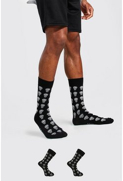 Black 2 Pack Man Dash Socks With Skulls