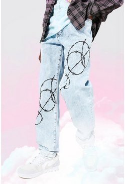 Ice blue Relaxed Fit Barbed Wire Print Jean