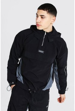 Black Oversized Man Colour Block Cagoule