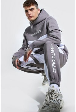 Light grey Oversized Man Colour Block Utility Tracksuit