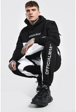 Black Oversized Man Colour Block Utility Tracksuit