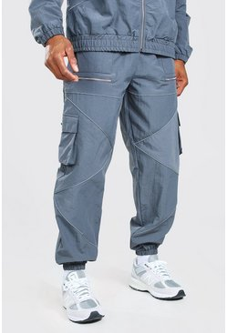 Charcoal Oversized Man Jogger With Reflective Piping