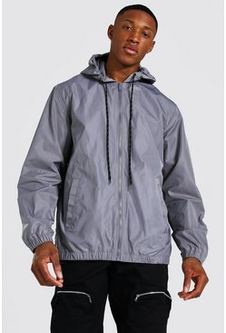 Charcoal Hooded Lightweight Zip Through Cagoule