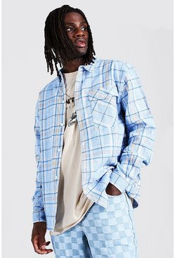 Powder blue Oversized Check Shirt