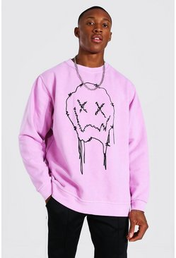 Pink Oversized Drip Face Print Overdyed Sweatshirt