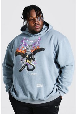 Charcoal Plus Size Overdyed Graphic Print Hoodie