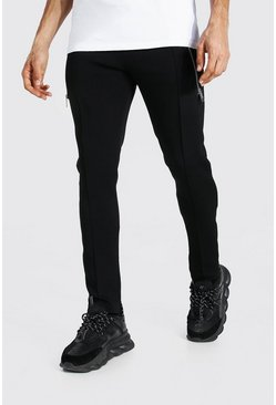 Black Tall Skinny Scuba Jogger With Extended Zips