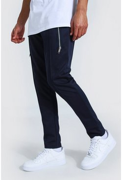 Navy Tall Skinny Scuba Jogger With Extended Zips