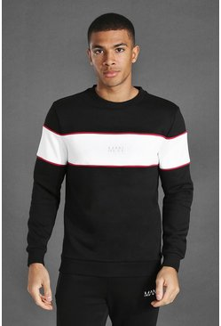 Black Man Active Blocked Panel Sweatshirt