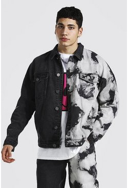 Charcoal Oversized Splice Tie Dye Denim Jacket
