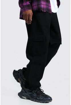 True black Straight Leg Cargo Jean