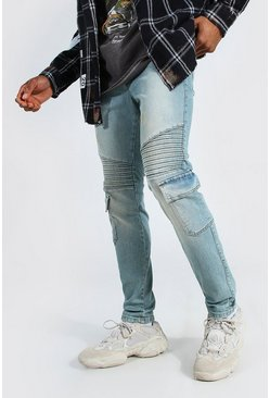 Antique blue Skinny Stretch Biker Cargo Jean