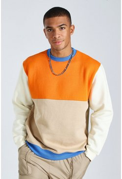 Sand Colour Block Sweatshirt