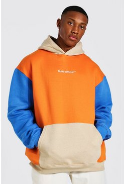 Orange Oversized Man Official Colour Block Hoodie