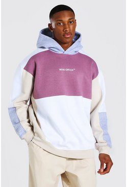 White Oversized Man Official Colour Block Hoodie