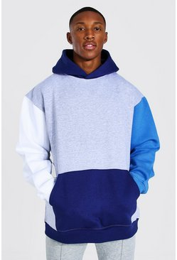 Grey marl Oversized Colour Block Hoodie
