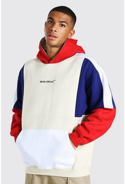 Ecru Oversized Man Official Colour Block Hoodie