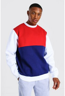 Navy Colour Block Sweatshirt