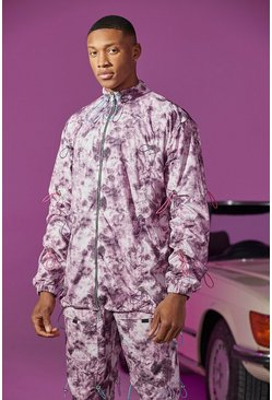 Purple Oversized Shell Jacket With All Over Bungee