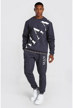 Charcoal Man Roman Print Sweater Tracksuit With Rib