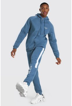 Blue Man Roman Zip Hooded Tracksuit With Panels