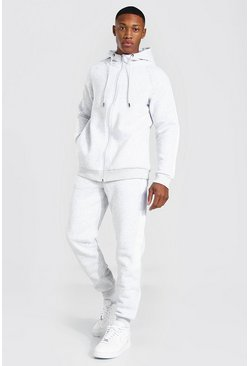 Grey marl Man Roman Zip Hooded Tracksuit With Panels