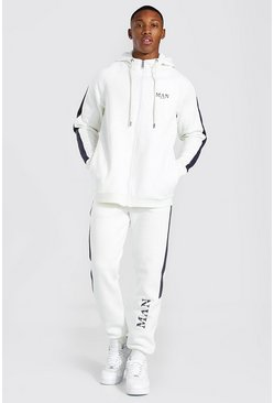 White Man Roman Zip Hooded Tracksuit With Panels