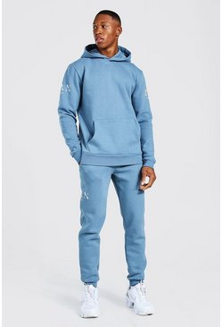 Blue Man Roman Sleeve Print Hooded Tracksuit