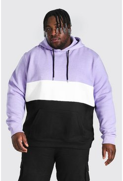 Purple Plus Size Colour Block Hoodie